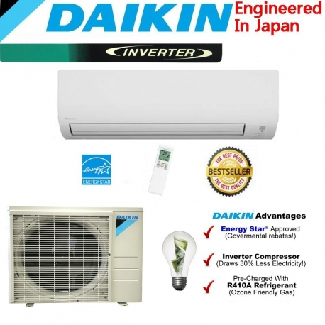 Daikin 9,000 btu 19 SEER Heat Pump & Air Conditioner Ductless Mini Split FTX09NMVJU / RX09NMVJU