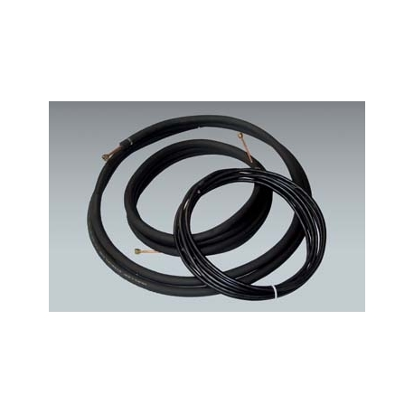 "Mueller 1/4"" x 3/8"" mini split lineset with 1/2"" insulation and 35 ft of Honeywell Direct Burial 14/4 communication cable"