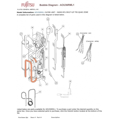210 Fujitsu K9900543013 Thermistor Pipe Red on lennox parts diagram