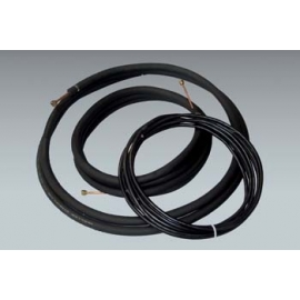 "25 ft of Mueller 1/4"" x 1/2"" mini split lineset with 1/2"" insulation and 25 ft of Southwire 14/4 communication cable"